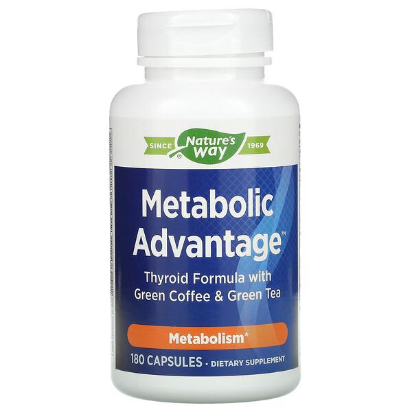 Metabolic Advantage,绿色咖啡和绿茶甲状腺配方,代谢,180 粒胶囊