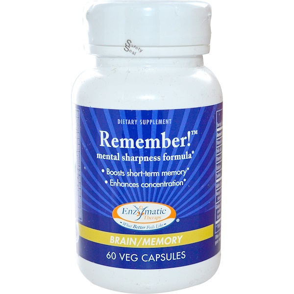 Enzymatic Therapy, Remember!, Mental Sharpness Formula, Brain/Memory, 60 Veggie Caps (Discontinued Item)
