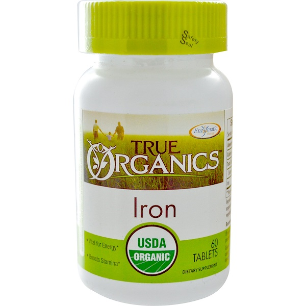 Enzymatic Therapy, True Organics, Iron, 60 Tablets (Discontinued Item)