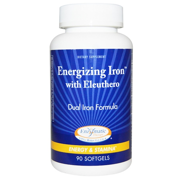 Enzymatic Therapy, Energizing Iron, with Eleuthero, 90 Softgels (Discontinued Item)