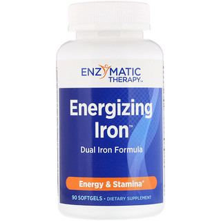Enzymatic Therapy, حديد التنشيط، وصفة حديد مزدوجة، 90 كبسولة جيلاتينية رخوة