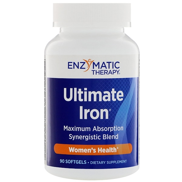 Enzymatic Therapy, Ultimate Iron, Women's Health, 90 Softgels