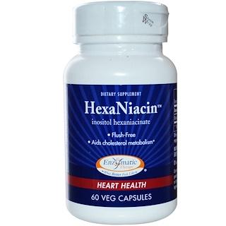 Enzymatic Therapy, HexaNiacin, 590 mg, 60 Veg Capsules