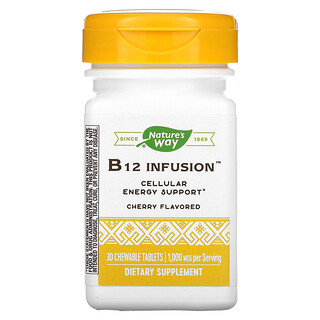 Nature's Way, B12 Infusion, Cherry, 1,000 mcg, 30 Chewable Tablets