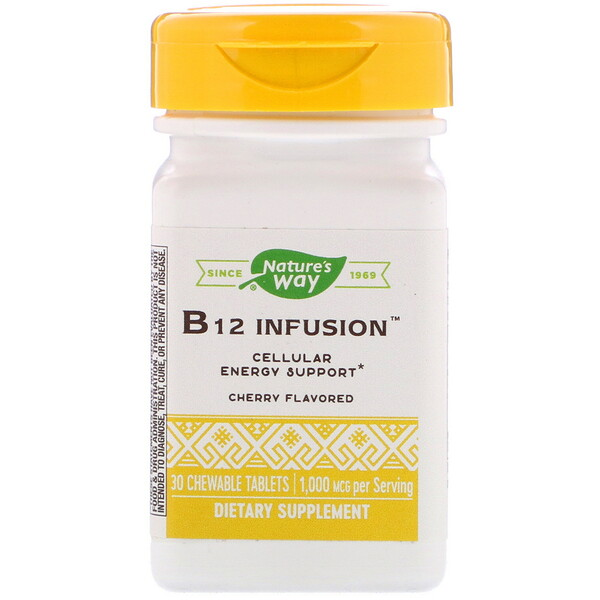 Nature's Way, B12 Infusion, Cherry Flavor, 1,000 mcg, 30 Chewable Tablets