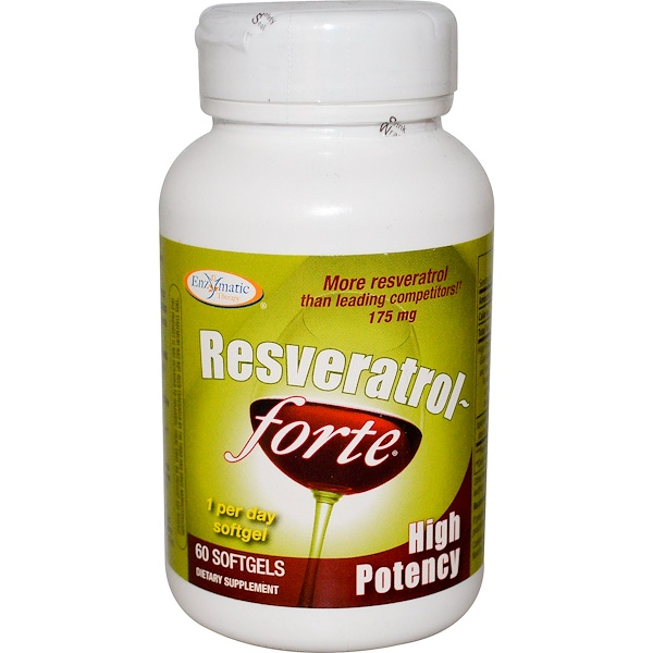Enzymatic Therapy, Resveratrol~Forte, High Potency, 175 mg, 60 Softgels (Discontinued Item)