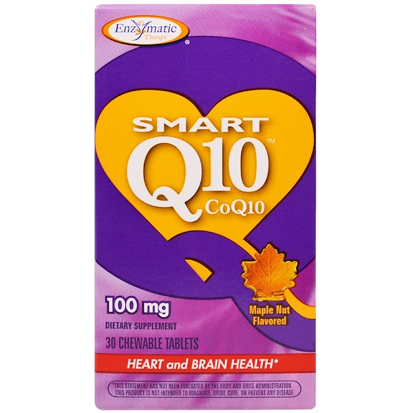 Enzymatic Therapy, Smart Q10 CoQ10, Maple Nut Flavored, 100 mg, 30 Chewable Tablets (Discontinued Item)