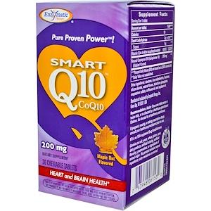 Энзайматик Терапи, Smart Q10, CoQ10, Maple Nut Flavored, 200 mg, 30 Chewable Tablets отзывы