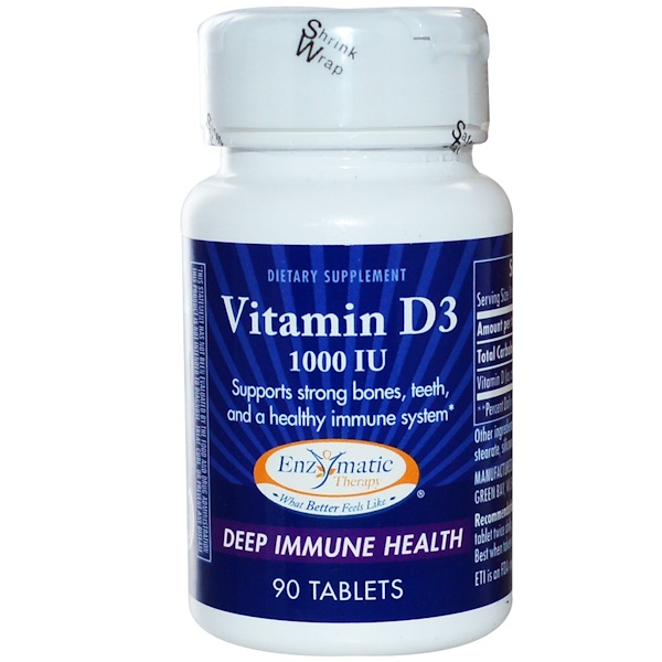 Enzymatic Therapy, Vitamin D3, Deep Immune Health, 1000 IU, 90 Tablets (Discontinued Item)