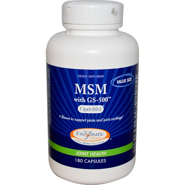 Enzymatic Therapy, MSM with GS-500, 180 Capsules (Discontinued Item)