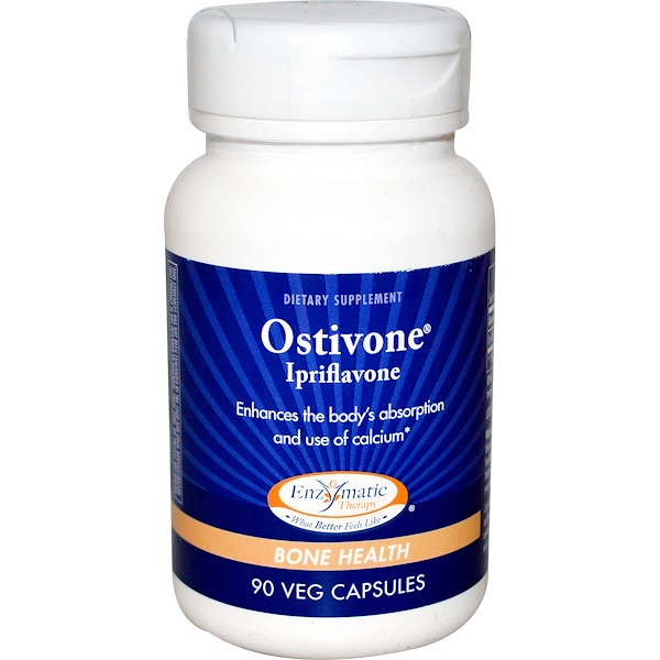 Enzymatic Therapy, Ostivone, Ipriflavone, Bone Health, 90 Veggie Caps (Discontinued Item)