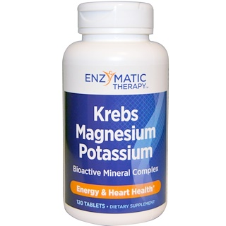 Enzymatic Therapy, Krebs Magnesium Potassium, Bioactive Mineral Complex, 120 Tablets