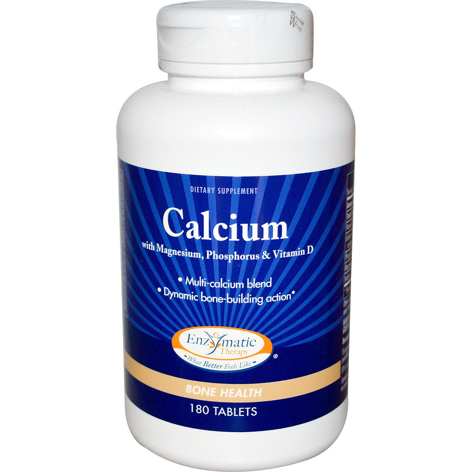Enzymatic Therapy, Кальций, с магнием, фосфором и витамином D , 180 таблеток