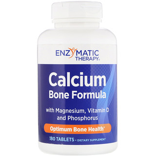 Enzymatic Therapy, Calcium Bone Formula with Magnesium, Vitamin D and Phosphorus, 180 Tablets