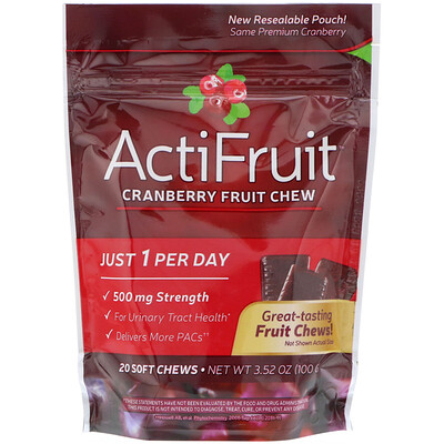 ActiFruit, Cranberry Fruit Chew, 20 Soft Chews