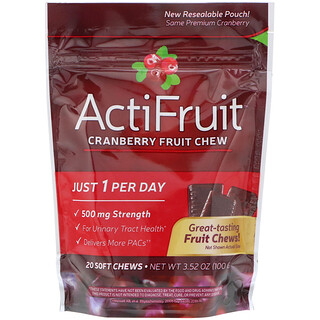 Enzymatic Therapy, ActiFruit, Cranberry Fruit Chew, 20 Soft Chews