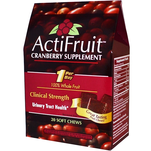 Enzymatic Therapy, ActiFruit, Cranberry Supplement, 20 Soft Chews