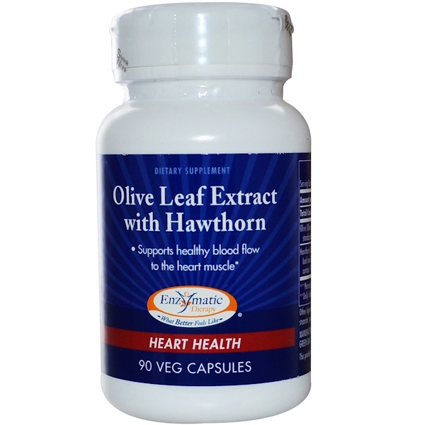 Enzymatic Therapy, Olive Leaf Extract with Hawthorn, Heart Health, 90 Veggie Caps (Discontinued Item)