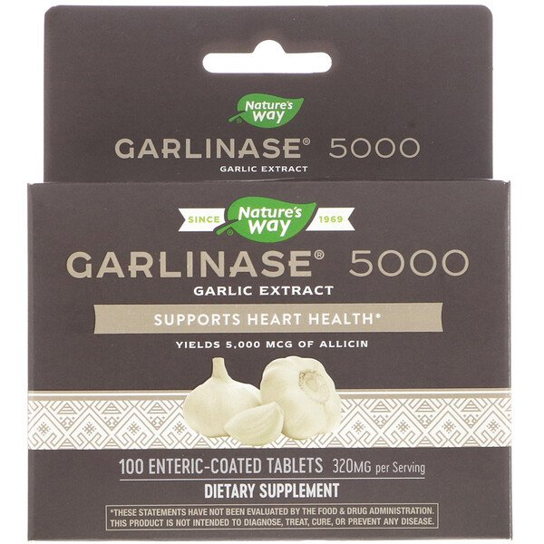 Garlinase 5000, 320 mg , 100 Enteric-Coated Tablets