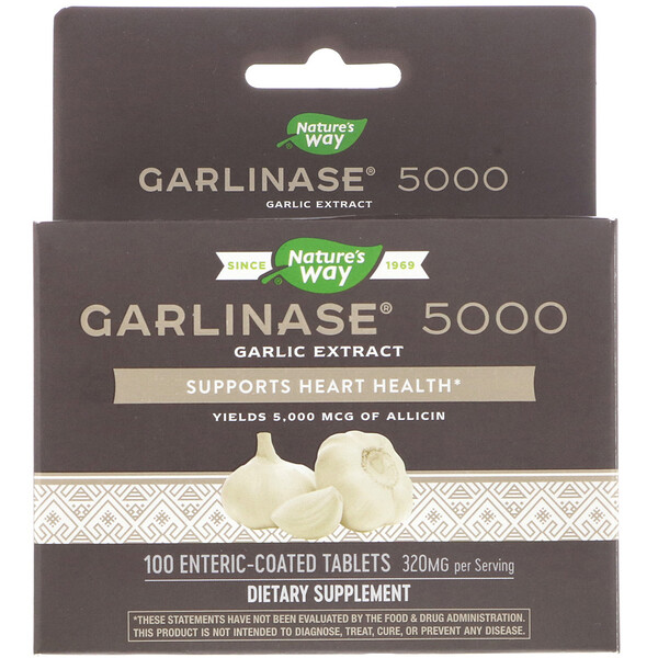 Nature's Way, Garlinase 5000، 320 ملغ، 100 قرصا مغلفا معويا