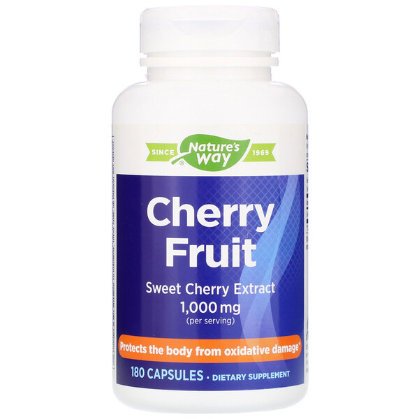 Nature's Way, Cherry Fruit, Sweet Cherry Extract, 1,000 mg, 180 Capsules