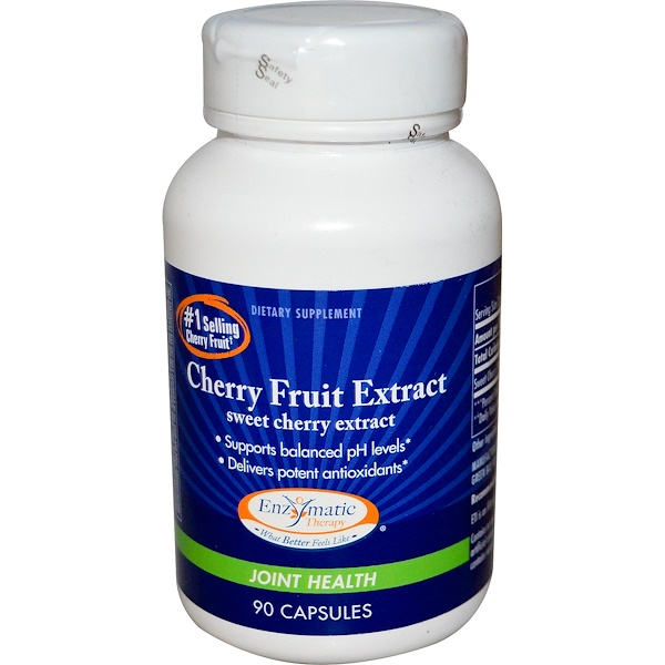 Enzymatic Therapy, Cherry Fruit Extract, Sweet Cherry Extract, Joint Health, 90 Capsules (Discontinued Item)