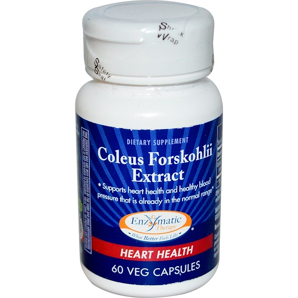 Enzymatic Therapy, Coleus Forskohlii Extract, Heart Health, 60 Veggie Caps