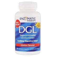 Enzymatic Therapy, DGL, Extracto de regaliz desglicirrizado, Regaliz con sabor, 100 tabletas masticables