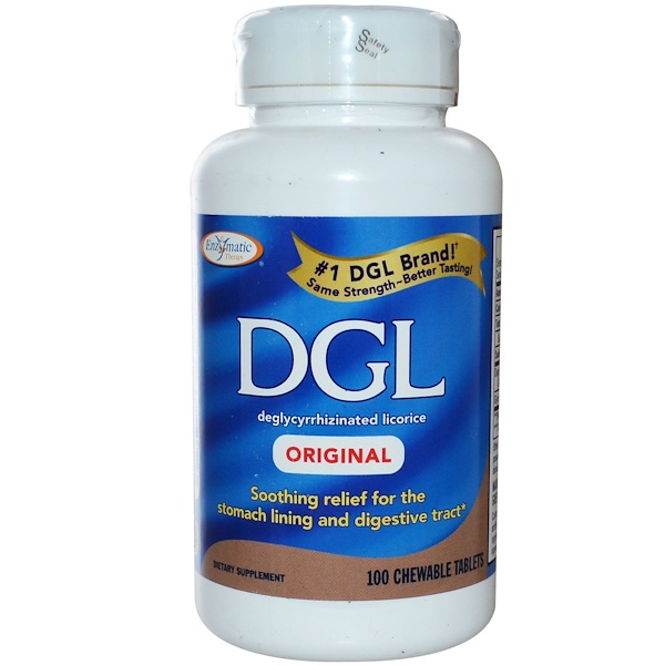 Enzymatic Therapy, DGL, Original, 100 Chewable Tablets