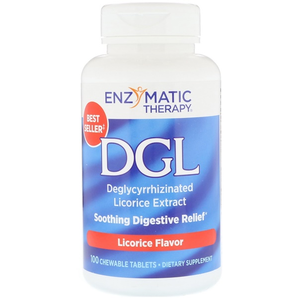 Enzymatic Therapy, DGL, Deglycyrrhizinated Licorice Extract, Licorice Flavor, 100 Chewable Tablets