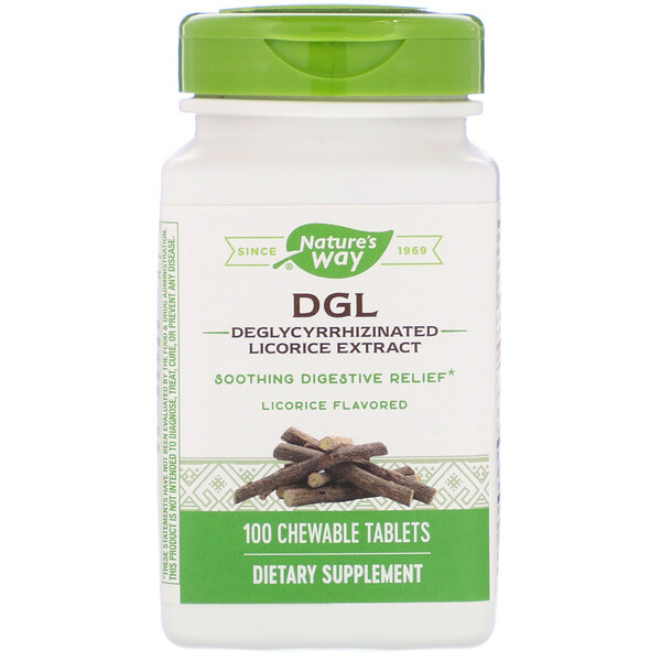 Nature's Way, DGL, Deglycyrrhizinated Licorice Extract, Licorice Flavored, 100 Chewable Tablets