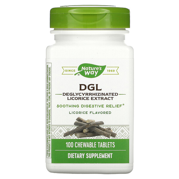 Nature's Way, DGL, Deglycyrrhizinated Licorice Extract, Licorice, 100 Chewable Tablets