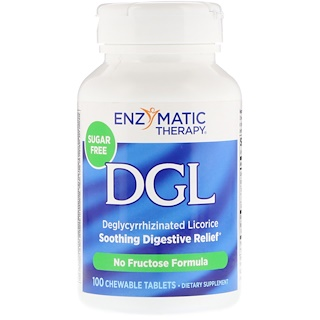 Enzymatic Therapy, DGL, Deglycyrrhizinated Licorice, 100 Chewable Tablets