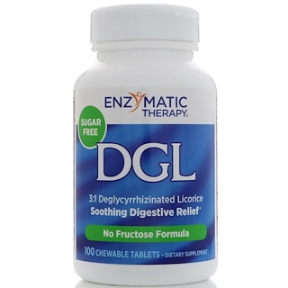 Enzymatic Therapy, DGL, 3:1 Deglycyrrhizinated Licorice, 100 Chewable Tablets