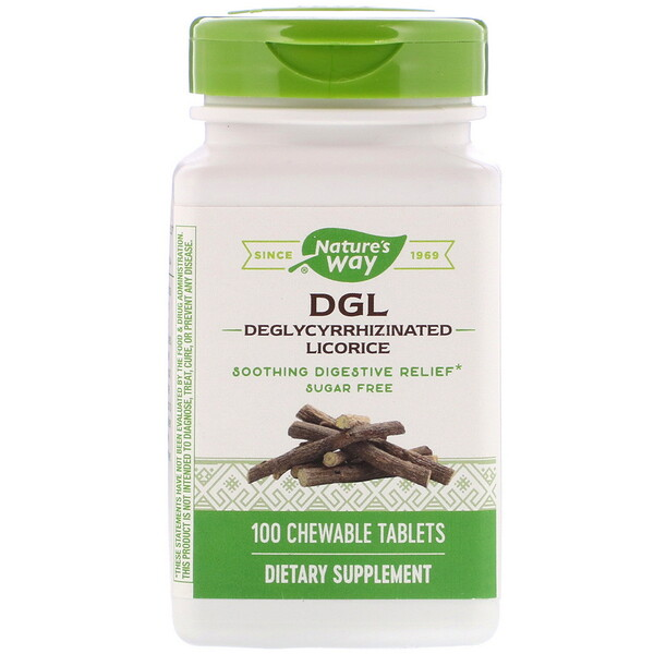 Nature's Way, DGL, Deglycyrrhizinated Licorice, 100 Chewable Tablets