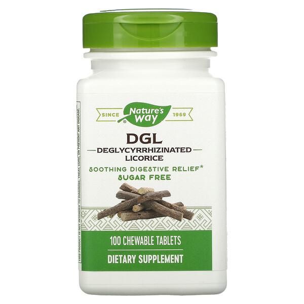 Nature's Way, DGL, Deglycyrrhizinated Licorice, 100 Chewable Tablets