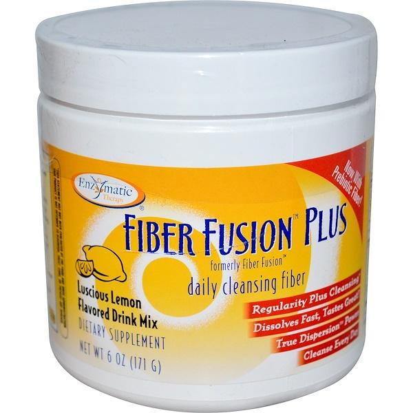 Enzymatic Therapy, Fiber Fusion Plus, Luscious Lemon Flavored Drink Mix, Powder, 6 oz (171 g) (Discontinued Item)