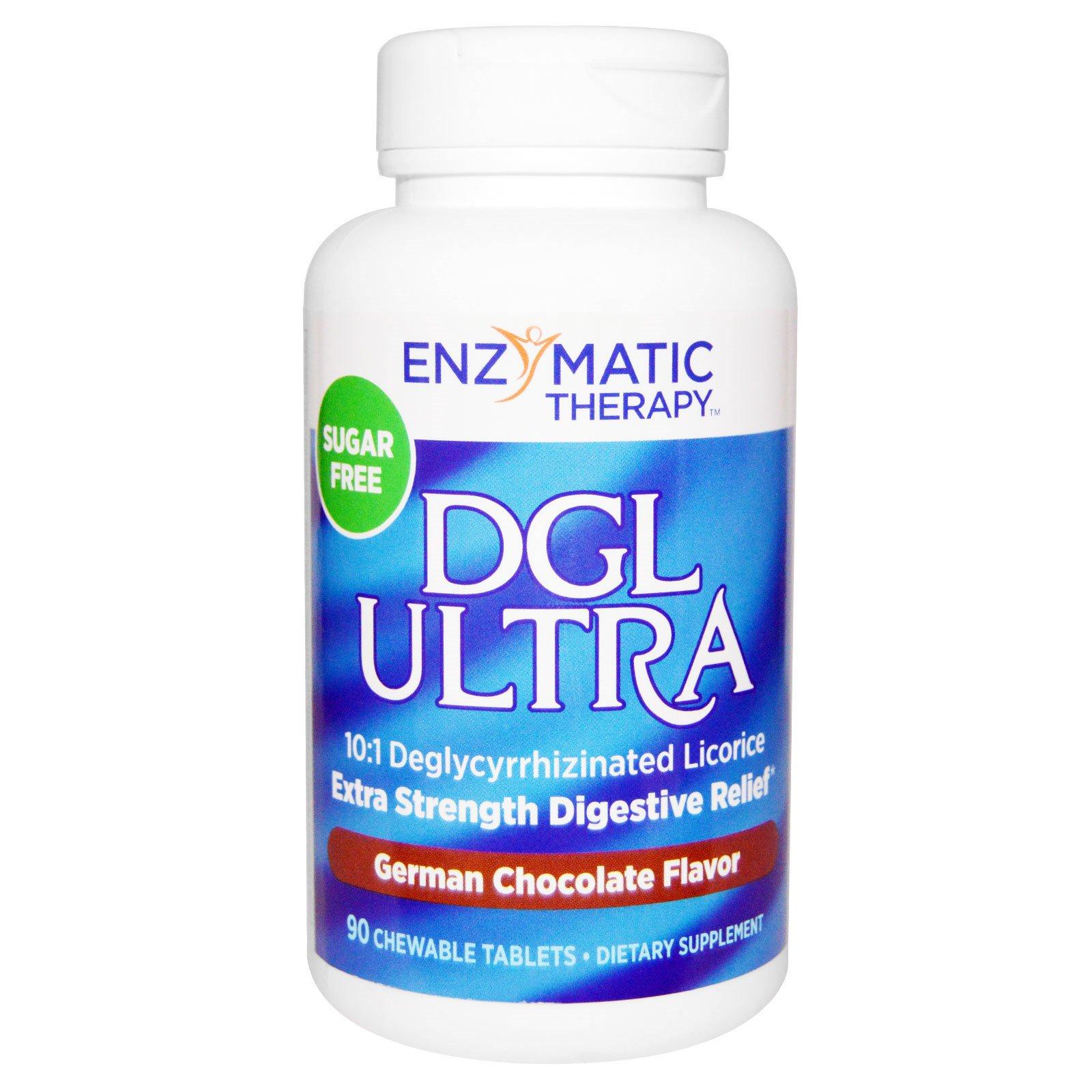 Enzymatic Therapy, DGL Ultra, без сахара, со вкусом немецкого шоколада, 90 жевательных таблеток
