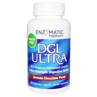 Enzymatic Therapy, DGLウルトラ, 無糖, ドイツチョコレート風味, 90錠(チュアブル)