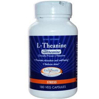 Enzymatic Therapy, L-Theanine, Stress, 180 Veggie Caps