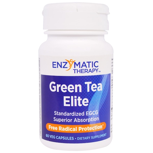 Enzymatic Therapy, Green Tea Elite, Standardized EGCG, 60 Veggie Caps (Discontinued Item)