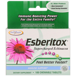 Enzymatic Therapy, Esberitox, Supercharged Echinacea, Immune Support, 100 Chewable Tablets