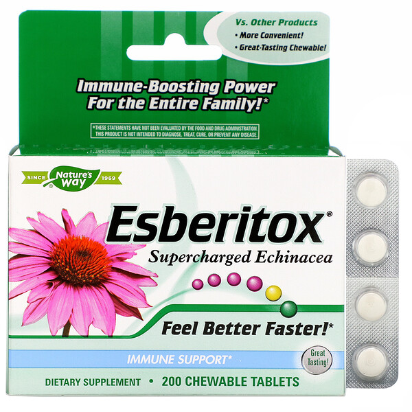Nature's Way, Esberitox, Supercharged Echinacea, 200 жевательных таблеток