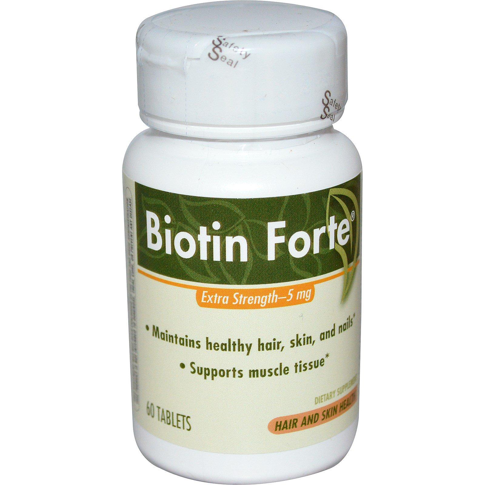 Enzymatic Therapy, Биотин Форте, Повышенная сила действия, 5 мг, 60 таблеток