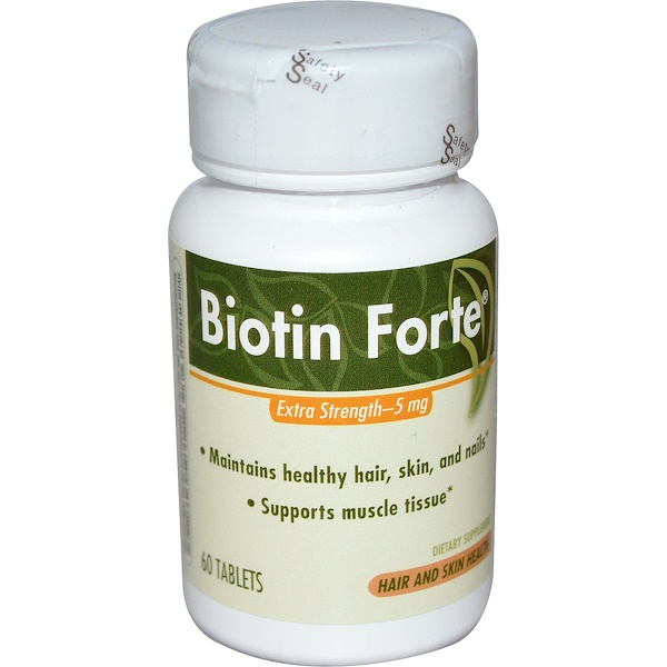 Enzymatic Therapy, Biotin Forte, Extra Strength, 5 mg, 60 Tablets (Discontinued Item)