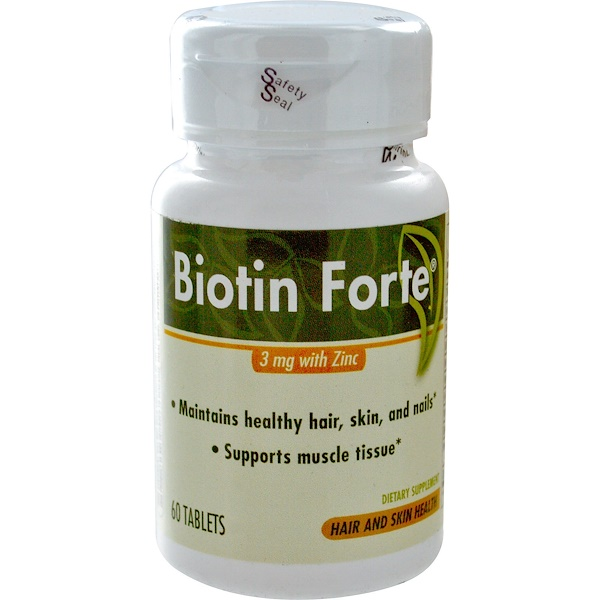 Enzymatic Therapy, Biotin Forte, 3 mg with Zinc, 60 Tablets