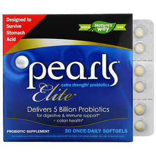 Nature's Way, Pearls Elite, Extra Strength Probiotics, 30 Once-Daily Softgels