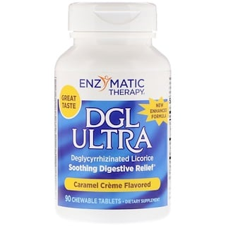 Enzymatic Therapy, DGL Ultra, Caramel Cream Flavored, 90 Chewable Tablets
