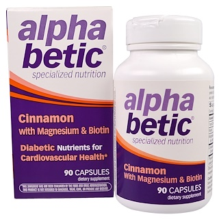 Enzymatic Therapy, Alpha Betic, Cinnamon with Magnesium & Biotin, 90 Capsules