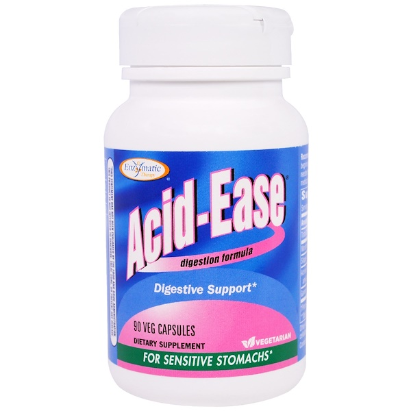 Enzymatic Therapy, Acid-Ease, Digestion Formula, 90 Veggie Caps (Discontinued Item)